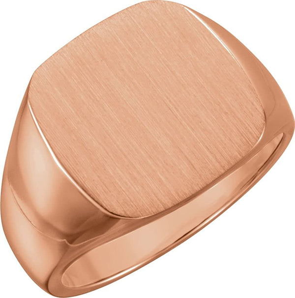 Men's Open Back Brushed Signet Semi-Polished 14k Rose Gold Ring (16mm) Size 10