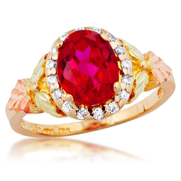 Diamond with Created Oval Ruby Ring, 10k Yellow Gold, 12k Green and Rose Gold Black Hills Gold Motif (.16 Ctw)