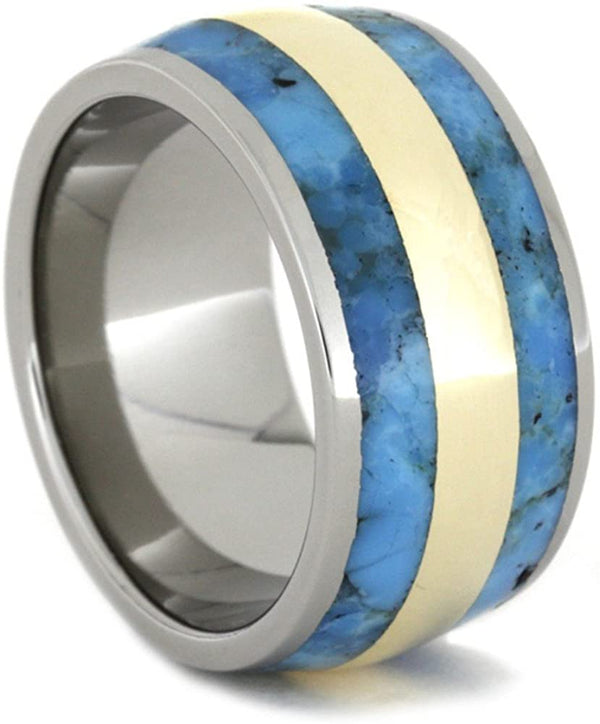 Turquoise, 14k Yellow Gold Inlay 11.5mm Comfort-Fit Titanium Wedding Band, Size 8.25