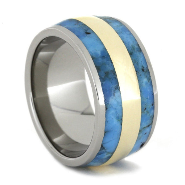 Turquoise, 14k Yellow Gold Inlay 11.5mm Comfort-Fit Titanium Wedding Band