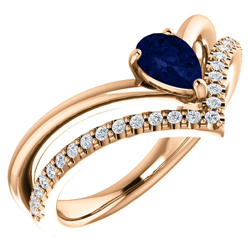 Chatham Created Blue Sapphire Pear Chevron and Diamond 14k Rose Gold Ring (.145 Ctw,G-H Color, I1 Clarity)