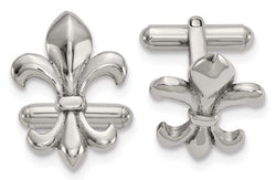 Stainless Steel Satin Fleur De Lis, Bullet Back Cuff Links