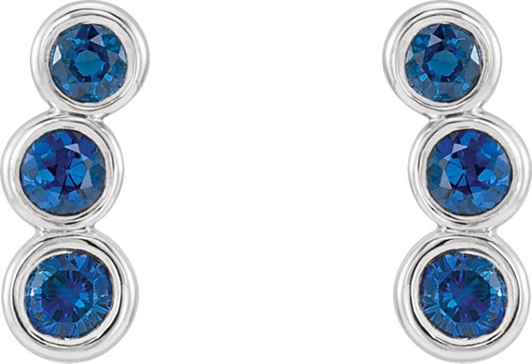 Platinum Chatham Created Blue Sapphire Three-Stone Ear Climbers