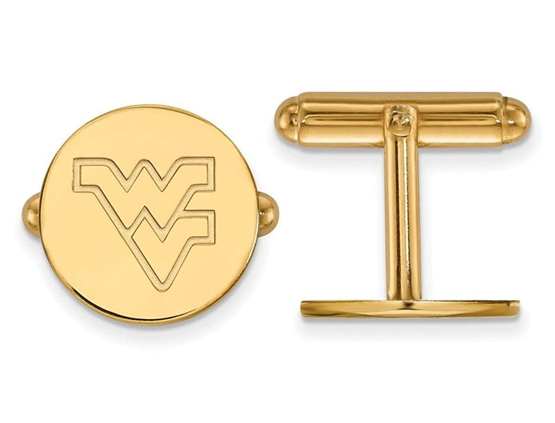 Gold-Plated Sterling Silver West Virginia University Round Cuff Links, 15MM