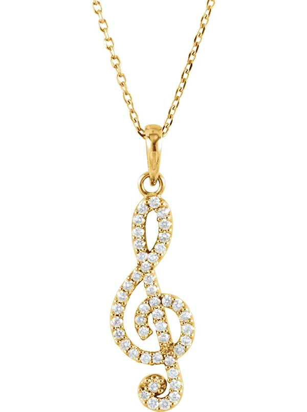 "Petite Diamond Treble Clef 14k Yellow Gold Pendant Necklace, 16"" (.25 Cttw)"