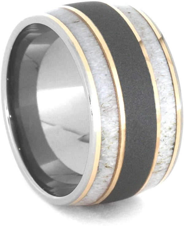 Deer Antler, 14k Rose Gold 9mm Comfort-Fit Sandblasted Titanium Wedding Band, Size 9.5
