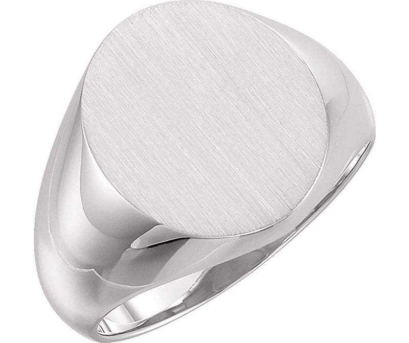 Mens Sterling Silver Brushed Round Signet Ring, Size 10, 16.00X14.00 MM