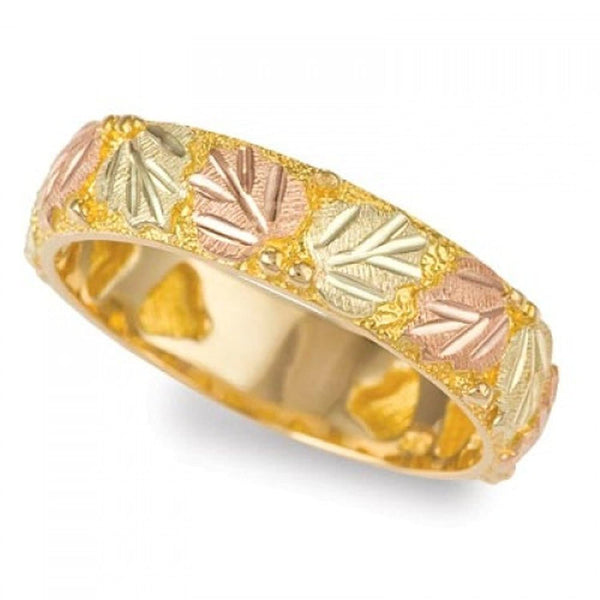 Women's Thin Wedding Band, 10k Yellow Gold, 12k Green and Rose Gold Black Hills Gold Motif