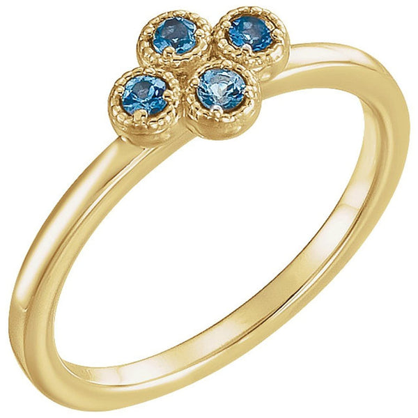 Aquamarine Quatrefoil Ring, 14k Yellow Gold, Size 7.75