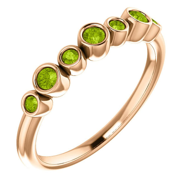 Peridot 7-Stone 3.25mm Ring, 14k Rose Gold, Size 7