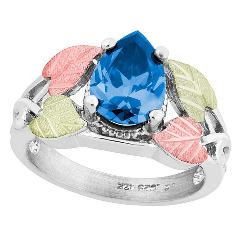 Pear Swiss Blue CZ Ring, Sterling Silver, 12k Green and Rose Gold Black Hills Gold Motif, Size 7.75