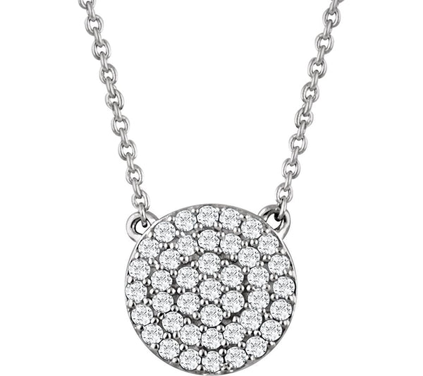 "Round Diamond Pendant Necklace in 14k White Gold, 18"" (.33 Cttw)"