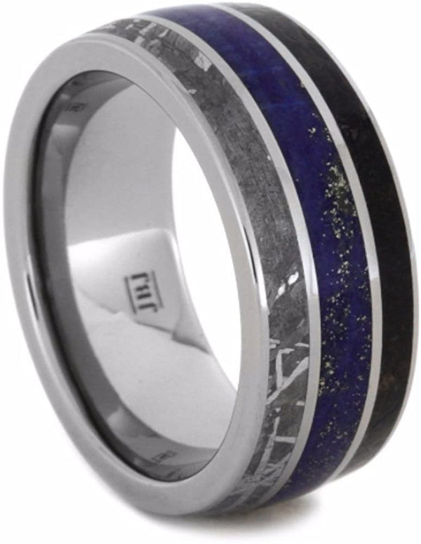 The Men's Jewelry Store (Unisex Jewelry) Dinosaur Bone, Gibeon Meteorite, Lapis Lazuli 10mm Comfort-Fit Titanium Wedding Band, Size 8.75