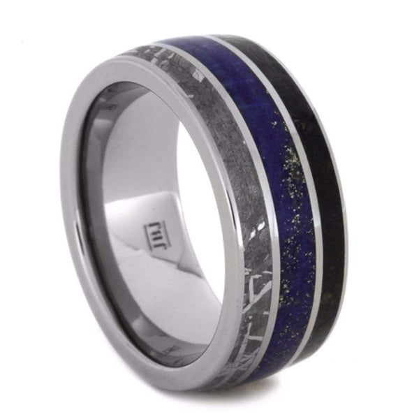 Dinosaur Bone, Gibeon Meteorite, Lapis Lazuli 10mm Comfort-Fit Titanium Wedding Band