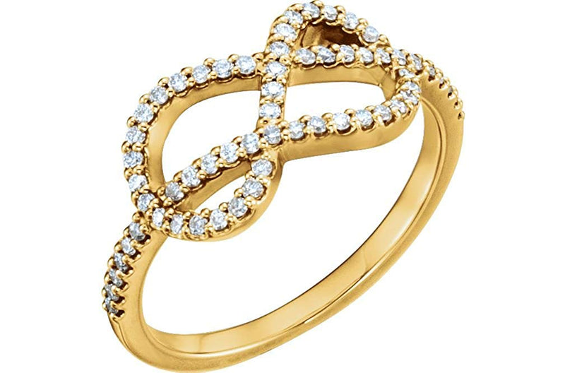 Diamond Knot Ring, 14k Yellow Gold (1/3 Ctw, Color G-H, Clarity I1), Size 6