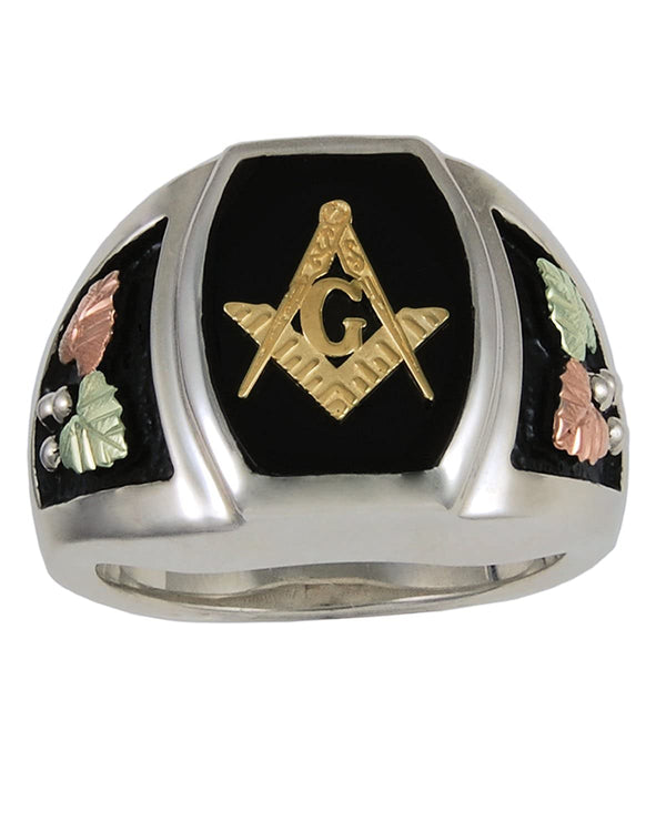 10k Yellow Gold Mason's Emblem Onyx Ring, Sterling Silver, 12k Green and Rose Gold Black Hills Gold Motif