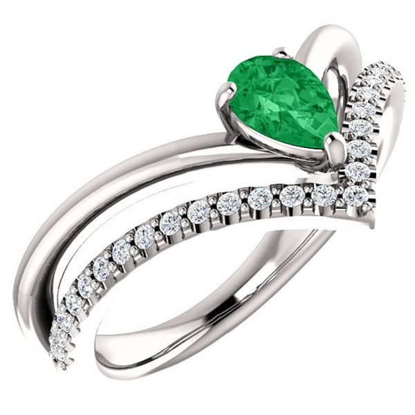 Emerald Pear and Diamond Chevron Platinum Ring ( .145 Ctw, G-H Color, SI2-SI3 Clarity)
