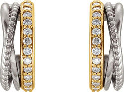 Diamond Beaded Hoop Earrings, Rhodium-Plated 14k Yellow and White Gold (0.2 Ctw, G-H Color, I1 Clarity)