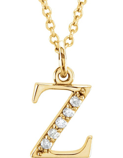 "Diamond Initial 'z' Lowercase Letter 14k Yellow Gold Pendant Necklace, 16"" (.03 Ctw, GH, I1)"