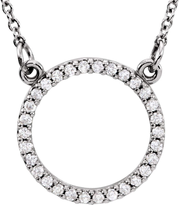"Petite Diamond Circle Pendant 14k White Gold Necklace, 16"" (1/6 Cttw)"
