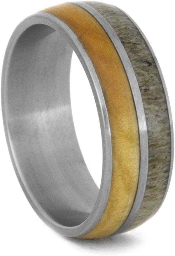 Deer Antler, Birch Wood 8mm Comfort-Fit Matte Titanium Wedding Band, Size 11.5
