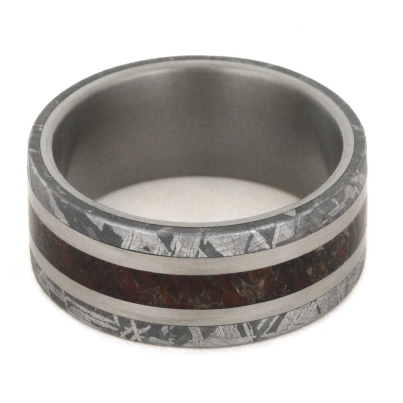 Dinosaur Bone, Gibeon Meteorite 8mm Comfort-Fit Matte Titanium Wedding Band