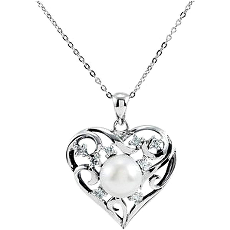 "Freshwater Cultured Pearl Heart 'My Treasured Possession' Rhodium Plate Sterling Silver Necklace 18"" 9.6M"