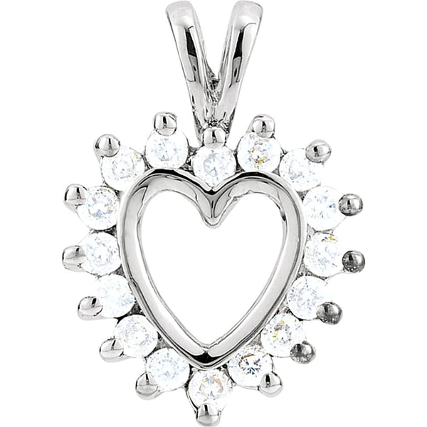 14k White Gold Diamond Halo Heart Pendant (GH Color, I1 Clarity, 1/3 Cttw)