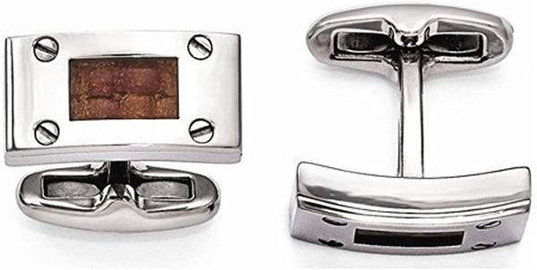 Texture Collection Grey Titanium and Brown Leather Cuff Links, 11X20MM