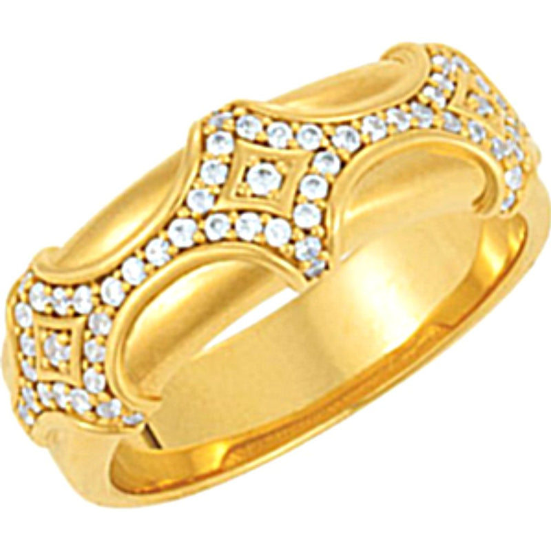Men's Diamond 14k Yellow Gold Fancy Band (.50 Cttw, GH Color, I1 Clarity)