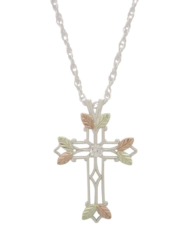Cathedral CZ Cross Pendant Necklace, Sterling Silver, 12k Green Gold, 12k Rose Gold Black Hills Gold, 18""