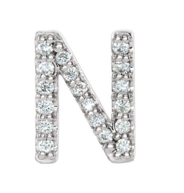 Sterling Silver Diamond Letter 'N' Initial Stud Earring (Single Earring) (.07 Ctw, GH Color, I1 Clarity)