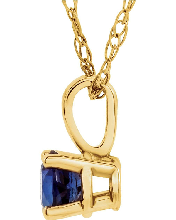 Children's Imitation Blue Sapphire ' September' Birthstone 14k Yellow Gold Pendant Necklace, 14""