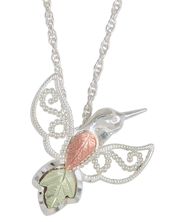 Hummingbird Pendant Necklace, Sterling Silver, 12k Green and Rose Gold Black Hills Gold Motif, 18''