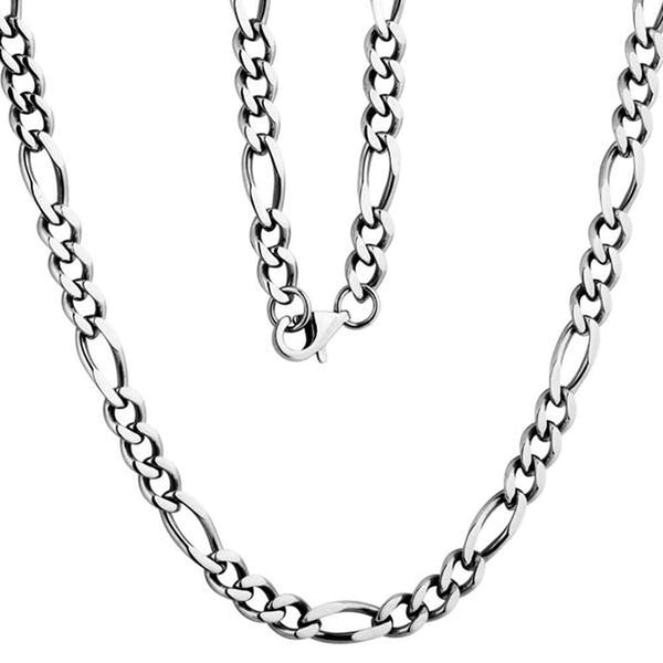 "Men's Stainless Steel Figaro Chain, 24"" (5mm)"