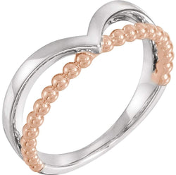 Negative Space Beaded 'V' Ring, Rhodium-Plated 14k White and Rose Gold