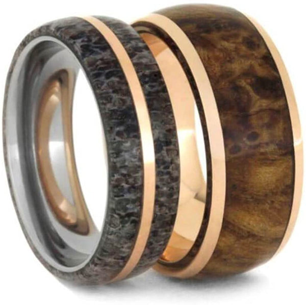 Deer Antler, 14k Rose Gold Titanium Band and Black Ash Burl Wood, 14k Rose Gold Titanium Band Couples Wedding Bands Sizes M8-F6.5