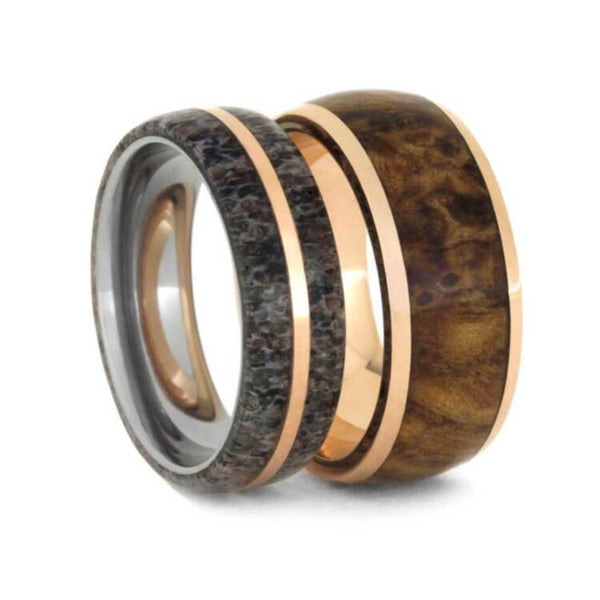 Deer Antler, Black Ash Burl Wood, 14k Rose Gold Comfort-Fit Titanium Couples Wedding Band Set