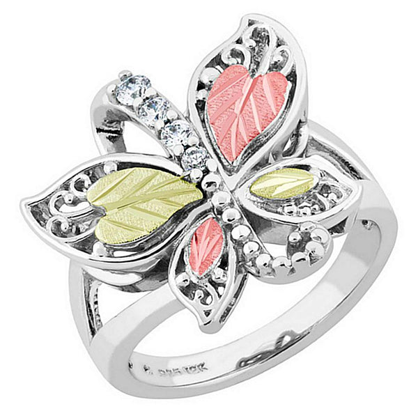 Graduated CZ with Scrollwork Butterfly Ring, Sterling Silver, 12k Green and Rose Gold Black Hills Gold Motif, Size 7.25