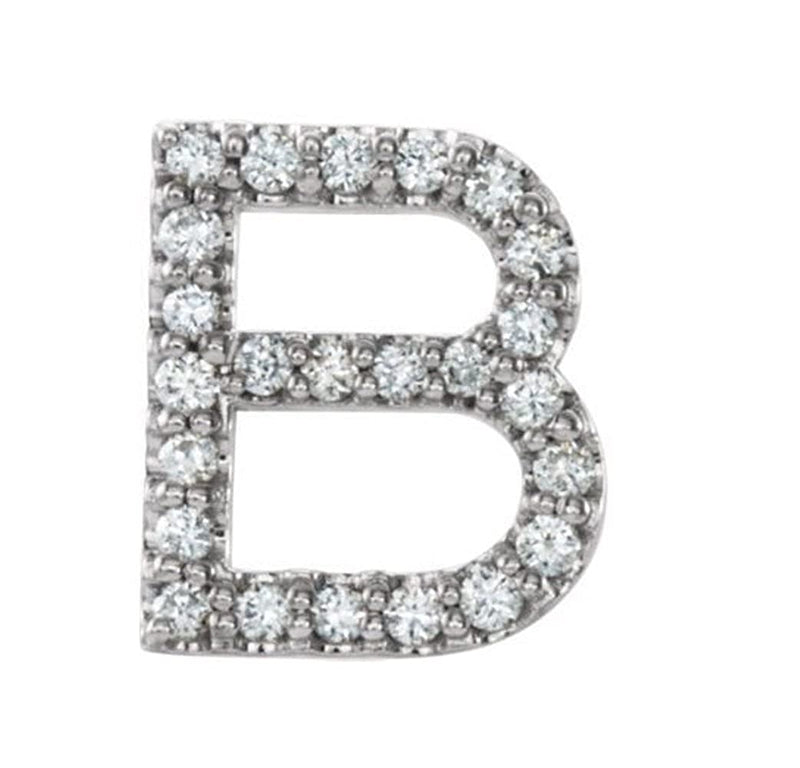Rhodium-Plated 14k White Gold Diamond Letter 'B' Initial Stud Earring (Single Earring) (.10 Ctw, GH Color, I1 Clarity)