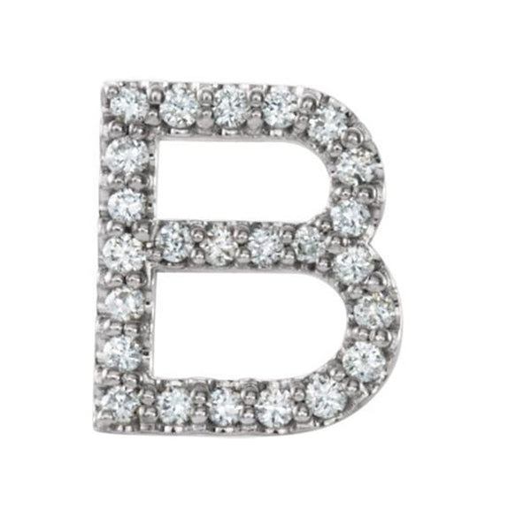 Sterling Silver Diamond Letter 'B' Initial Stud Earring (Single Earring) (.10 Ctw, GH Color, I1 Clarity)