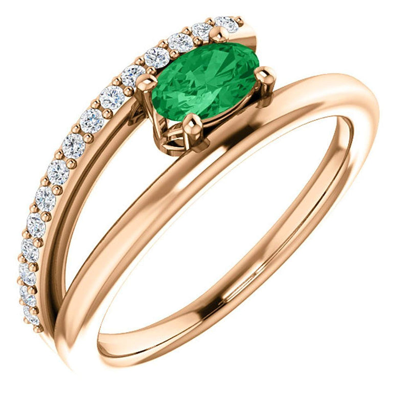 Emerald and Diamond Bypass Ring, 14k Rose Gold (.125 Ctw, G-H Color, I1 Clarity)
