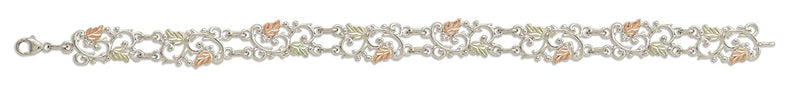 Petite Leaves with Filigree Design Bracelet, Sterling Silver, 12k Green and Rose Gold Black Hills Gold Motif, 7.25""