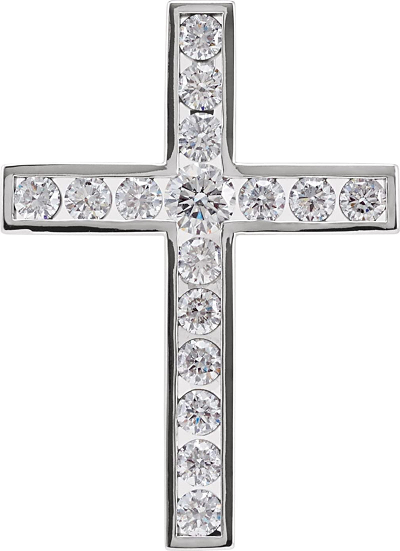 Diamond Coticed Cross Rhodium-Plated 14k White Gold Pendant (1 Ctw, G-H Color, I1 Clarity)