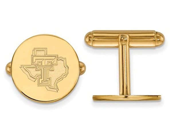 14k Yellow Gold Texas Tech University Round Cuff Links, 15MM