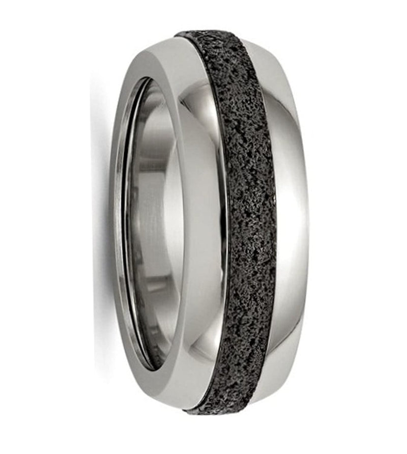 Edward Mirell Stainless Steel with Black Concrete Inlay Stepped 8mm Comfort-Fit Band