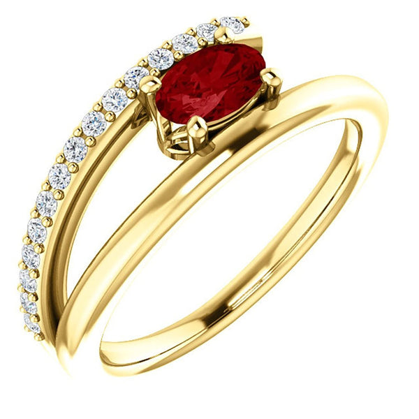 Ruby and Diamond Bypass Ring, 14k Yellow Gold (.125 Ctw, G-H Color, I1 Clarity), Size 7.5