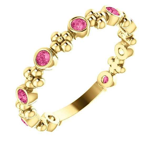 Genuine Pink Tourmaline Beaded Ring, 14k Yellow Gold
