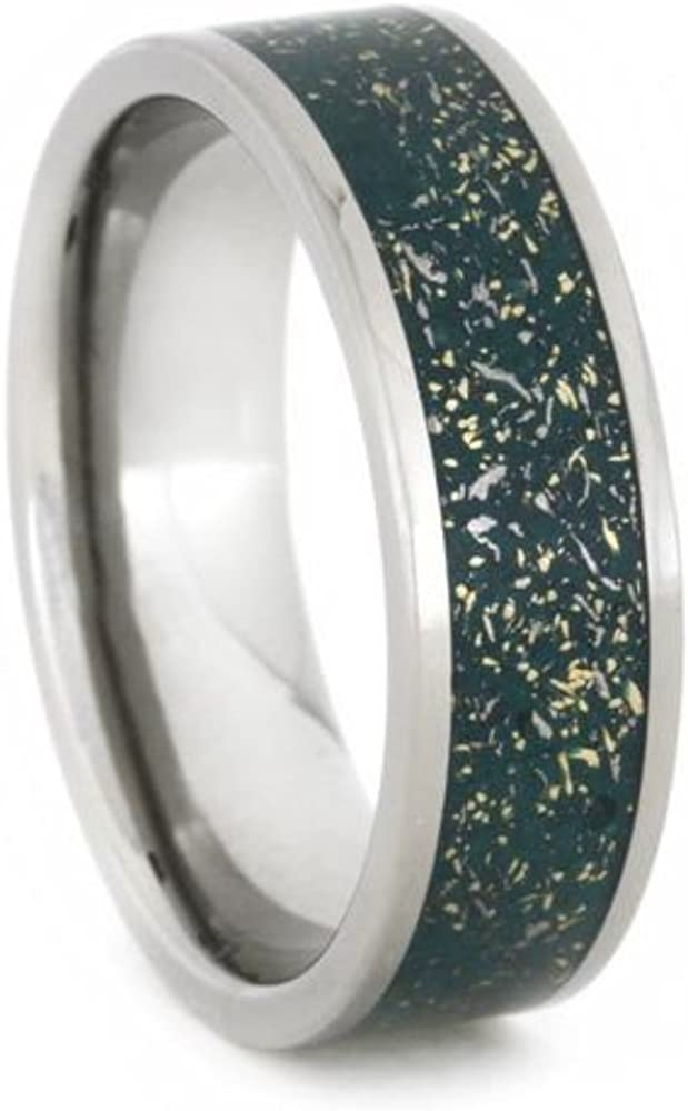 Green Stardust Band with Meteorite and Yellow Gold 7mm Comfort-Fit Titanium Ring