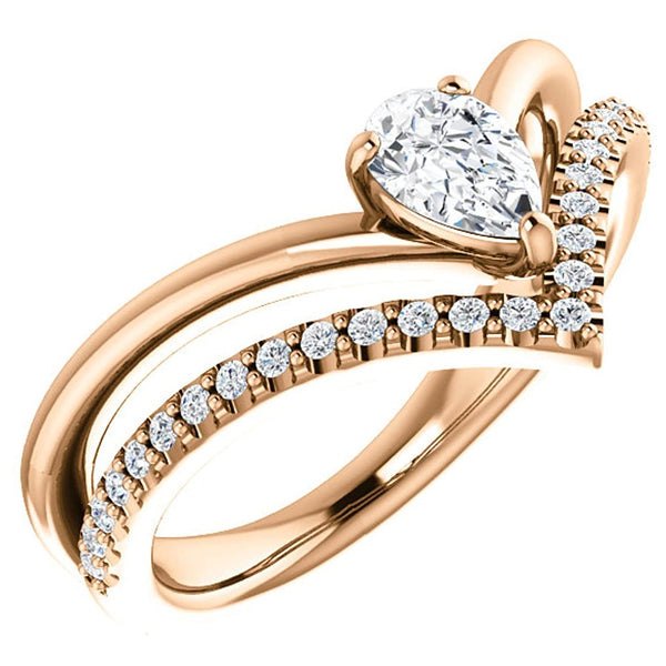 White Sapphire Pear and Diamond Chevron 14k Rose Gold Ring (.145 Ctw,G-H Color, I1 Clarity)